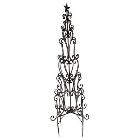 "Antique Silver 48""H Tree Wire Garden Stake"