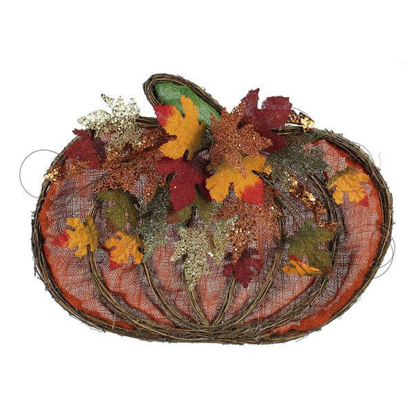 "Wreaths and Door Decor-Natural/Autumn/Org/Moss 25""L Grapevine/Maple Leaf Pumpkin-Sassy Chic Boutique"