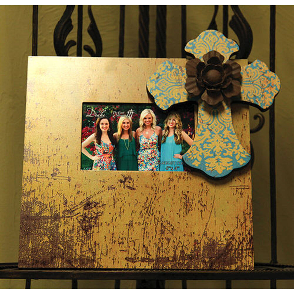 Home Decor-Large Picture Frame - Gold and Turquoise with Metal Flower-Sassy Chic Boutique