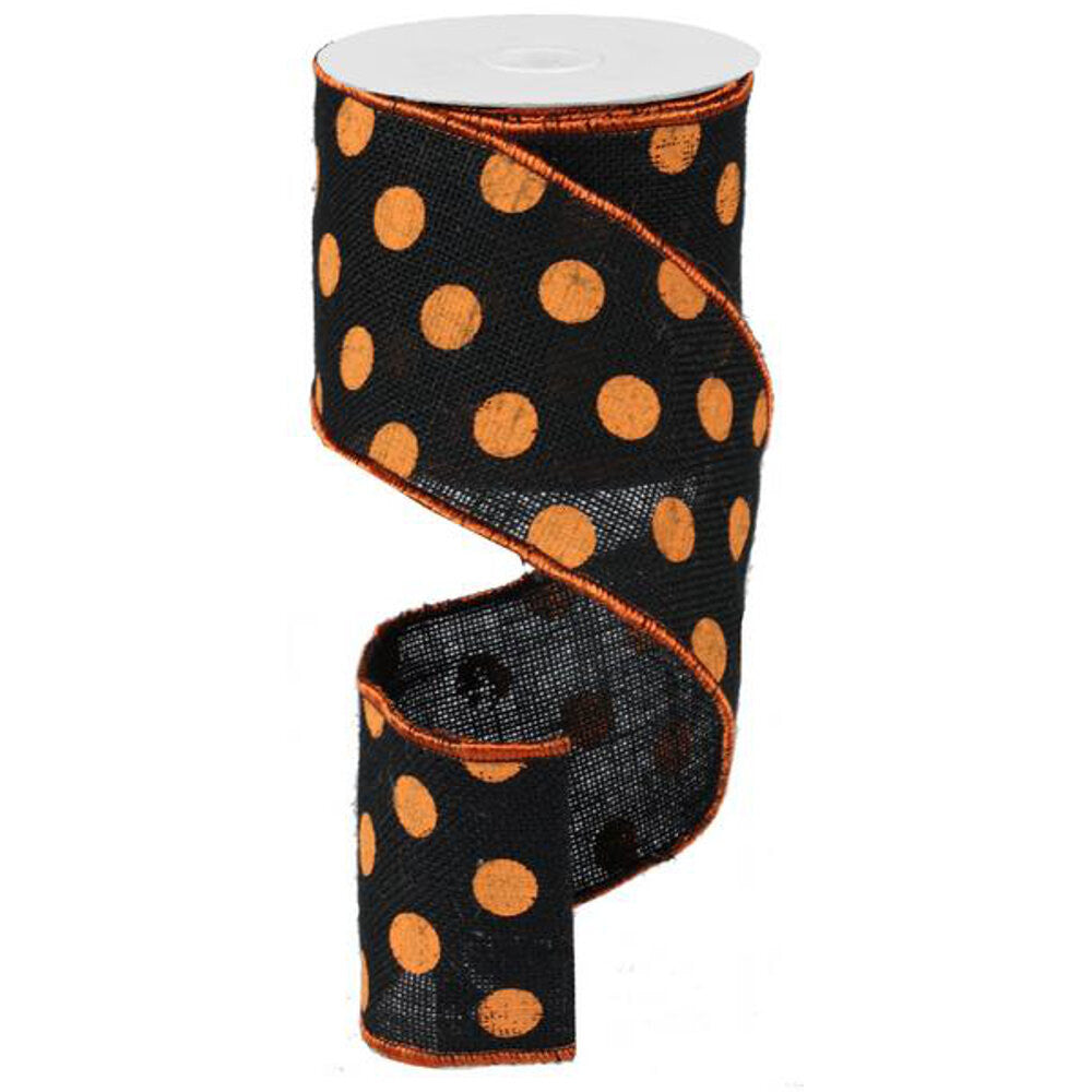 "Wreath Supplies-Large Polka Dot Ribbon - Orange and Black (RA1454TR) - 4"" x 10 yds-Sassy Chic Boutique"