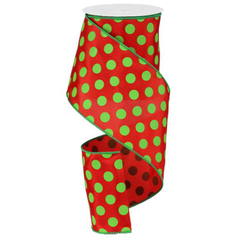 "Wreath Supplies-Large Polka Dot Ribbon - Red/Lime Green (RG15913Y) - 4"" x 10 yds-Sassy Chic Boutique"