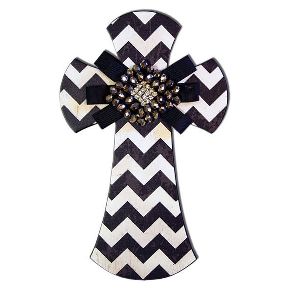 "Home Decor-9"" Layered Wall Cross Black and White with Jeweled Bow-Sassy Chic Boutique"