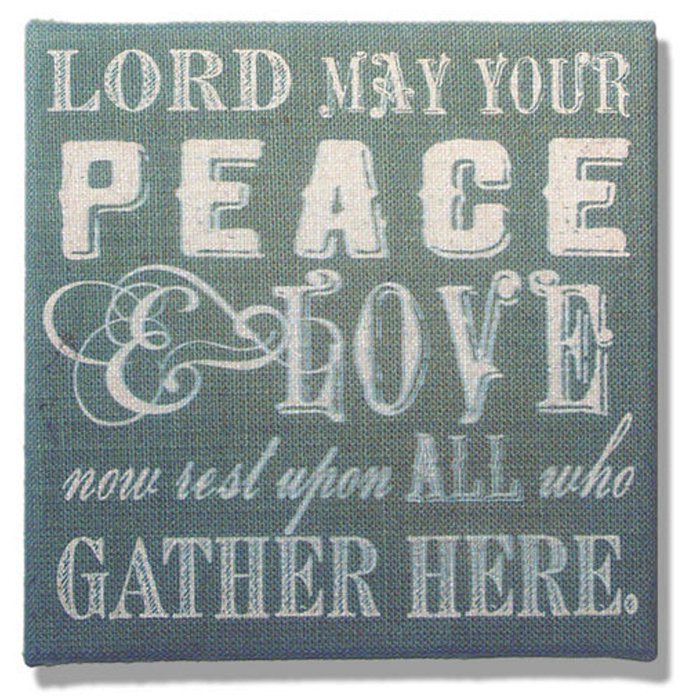 Home Decor-Lord May Your Peace and Love on Blue and Gray Burlap Plaque-Sassy Chic Boutique