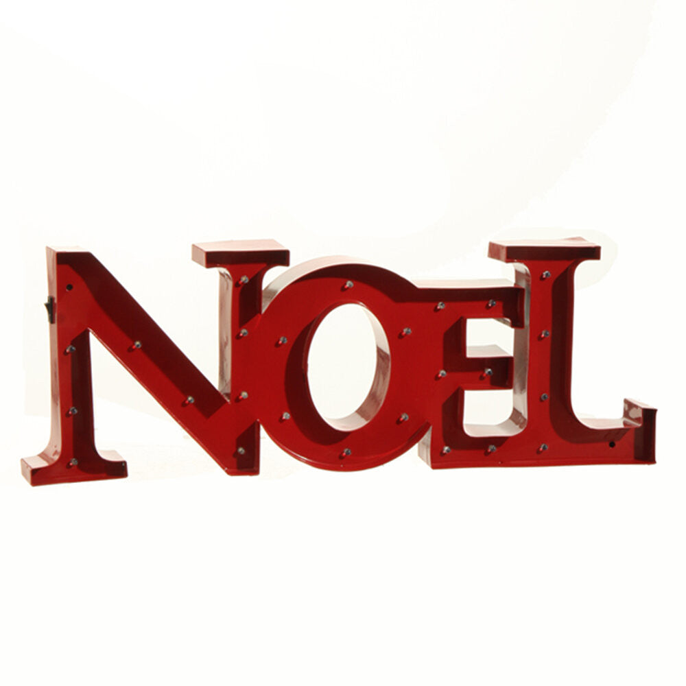"Home Decor-Metal Christmas LED Word ""NOEL"" - Red (3525555) - 7"" x 20""-Sassy Chic Boutique"