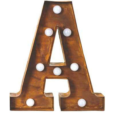 "9"" Metal LED Letter ""A"" - Rust (DA3721A)"