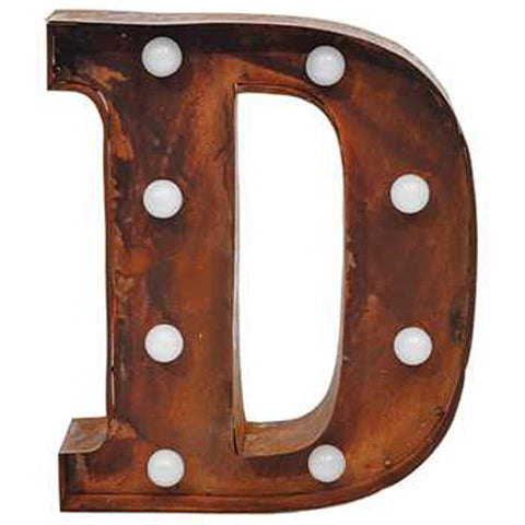 "9"" Metal LED Letter ""D"" - Rust (DA3724A)"