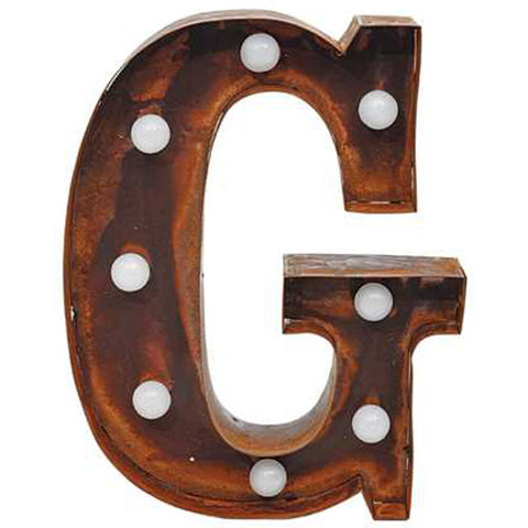 "9"" Metal LED Letter ""G"" - Rust (DA3726A)"