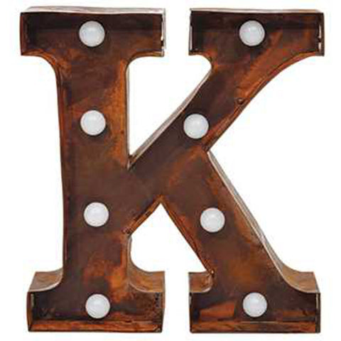 "Home Decor-9"" Metal LED Letter ""K"" - Rust (DA3728A)-Sassy Chic Boutique - 1"