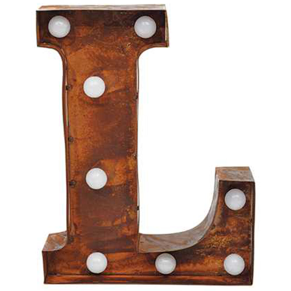 "Home Decor-9"" Metal LED Letter ""L"" - Rust (DA3730A)-Sassy Chic Boutique - 1"