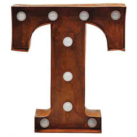 "9"" Metal LED Letter ""T"" - Rust (DA3734A)"