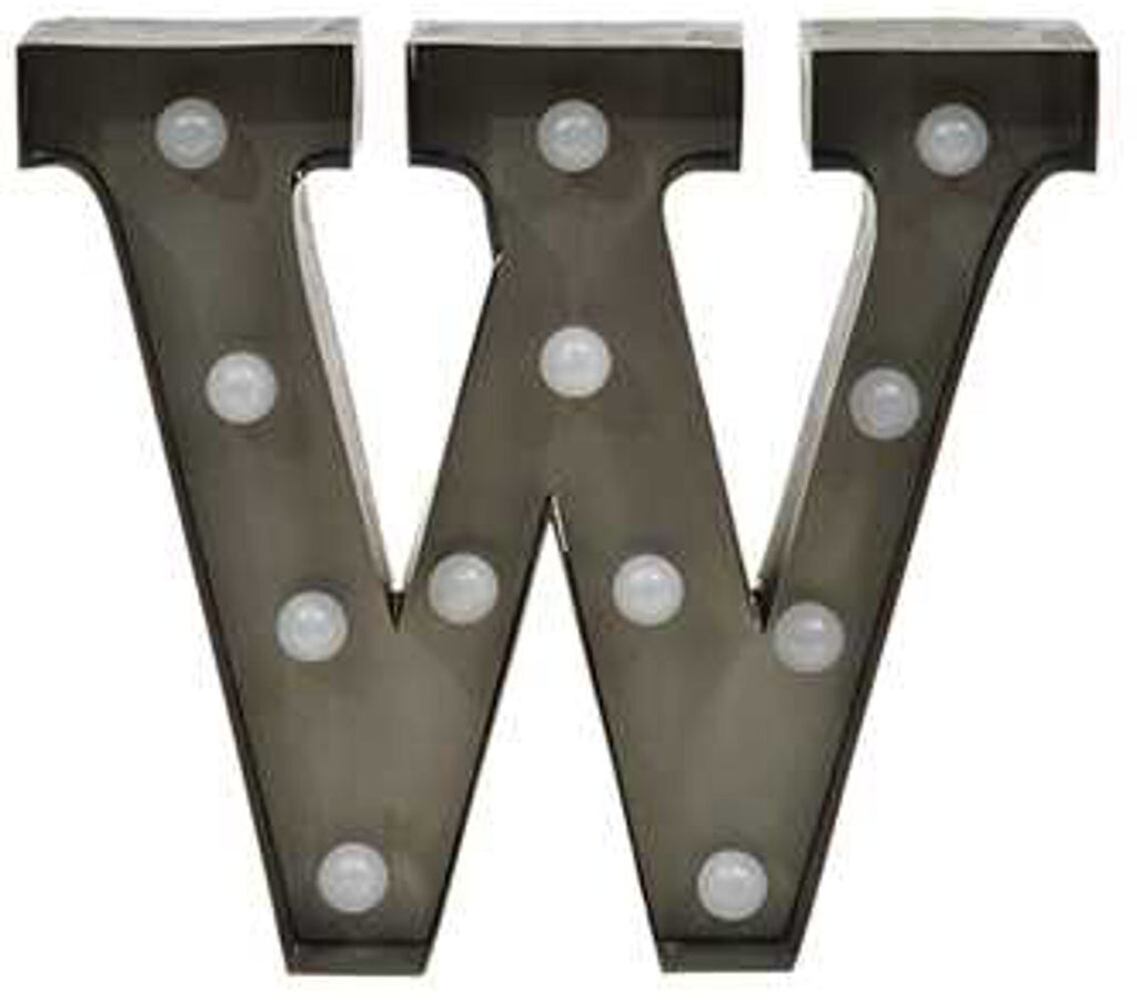 "Home Decor-9"" Metal LED Letter ""W"" - Silver (DA3735A)-Sassy Chic Boutique - 1"