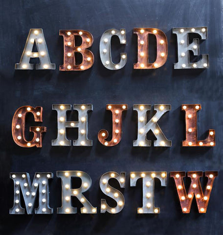 "Home Decor-9"" Metal LED Letter ""W"" - Silver (DA3735A)-Sassy Chic Boutique - 3"