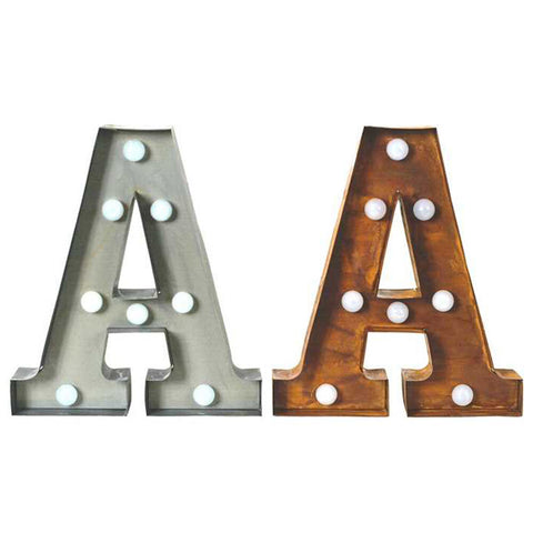 "Home Decor-9"" Metal LED Letter ""A"" - Rust (DA3721A)-Sassy Chic Boutique - 2"