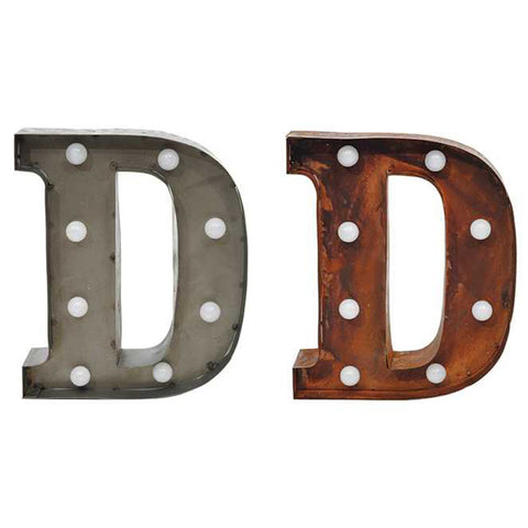 "Home Decor-9"" Metal LED Letter ""D"" - Rust (DA3724A)-Sassy Chic Boutique - 2"