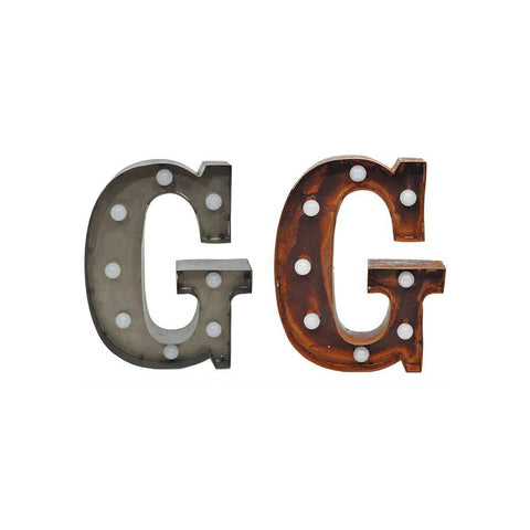 "Home Decor-9"" Metal LED Letter ""G"" - Rust (DA3726A)-Sassy Chic Boutique - 2"