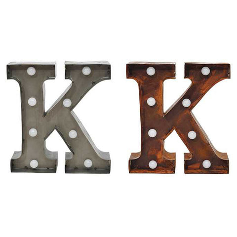 "Home Decor-9"" Metal LED Letter ""K"" - Rust (DA3728A)-Sassy Chic Boutique - 2"
