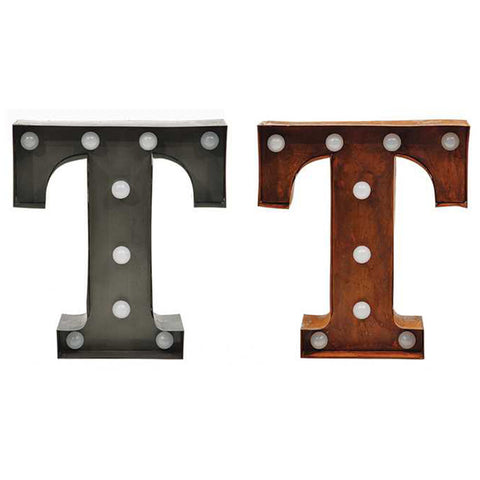 "Home Decor-9"" Metal LED Letter ""T"" - Rust (DA3734A)-Sassy Chic Boutique - 2"