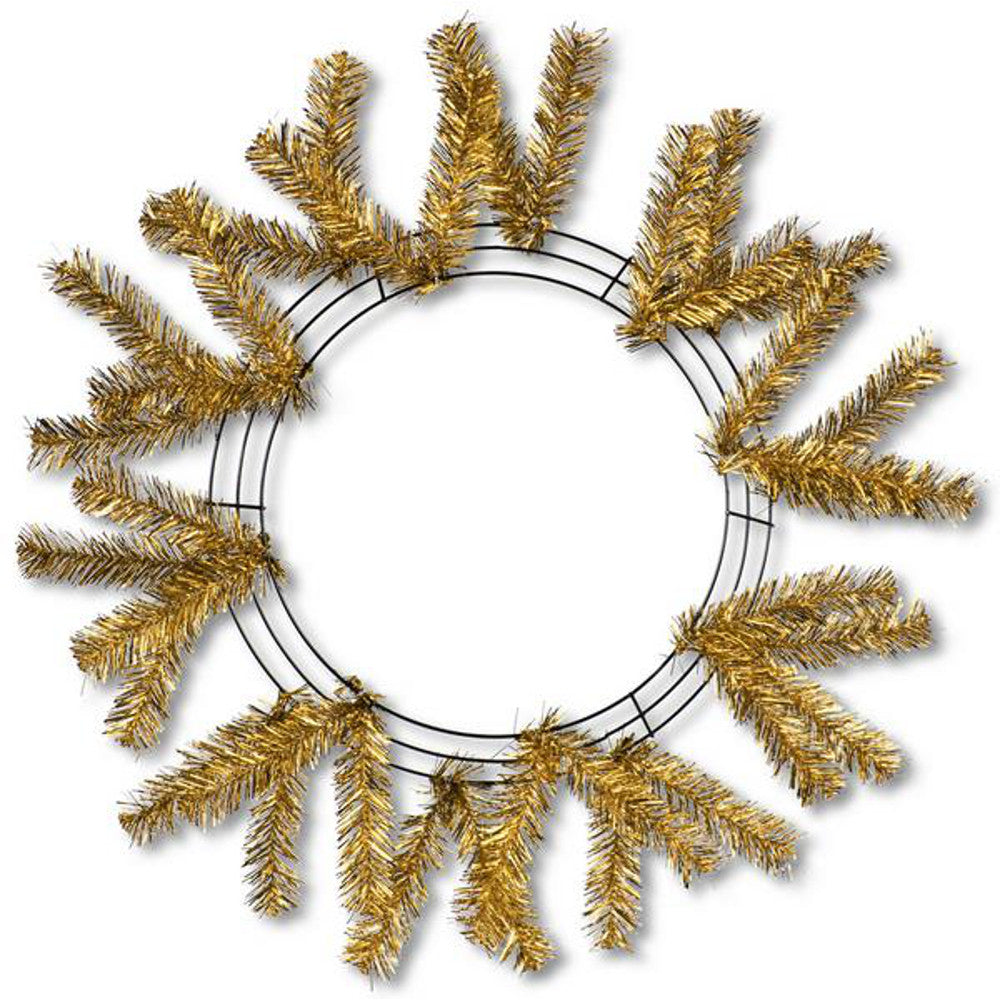 "Wreath Supplies-24"" Metallic Gold Work Wreath - (XX749508)-Sassy Chic Boutique"