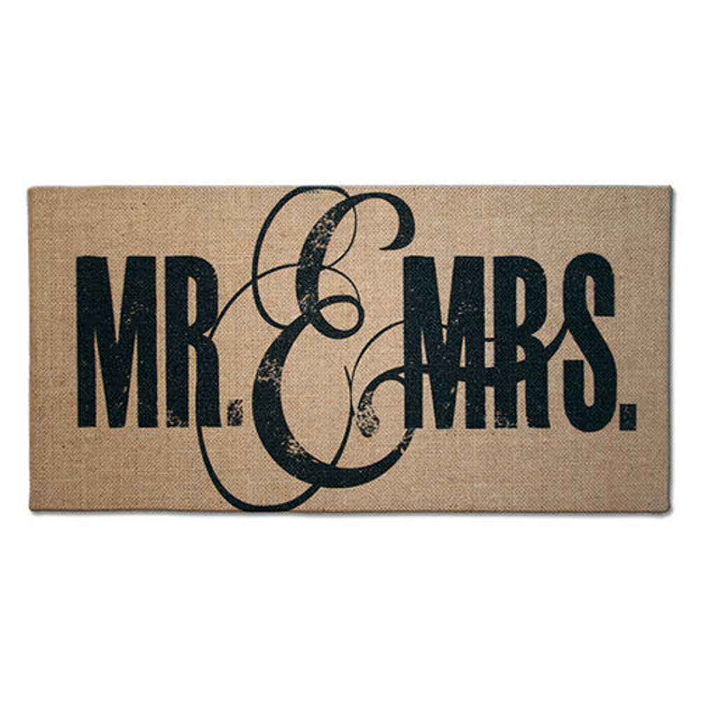 Home Decor-Mr. and Mrs. Natural Burlap Plaque-Sassy Chic Boutique