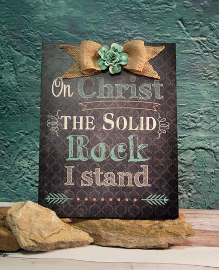Home Decor-On Christ The Solid Rock I Stand Wood Plaque with Flower-Sassy Chic Boutique