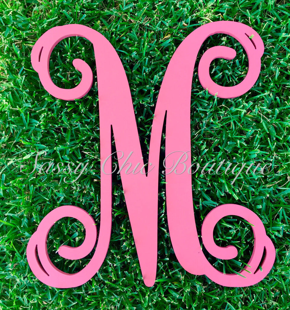 Wooden Monograms-Custom Painted Single Wooden Monograms - Vine Font-Sassy Chic Boutique