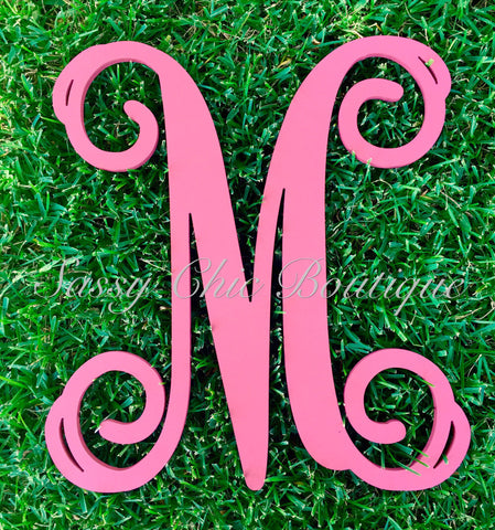 Custom Painted Single Wooden Monograms - Vine Font