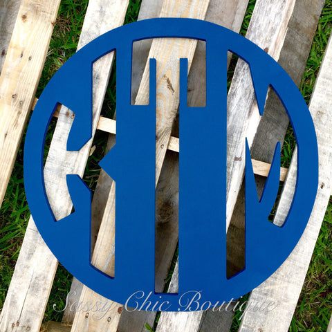 Wooden Monograms-Custom Painted Triple Wooden Monogram - Block Font-Sassy Chic Boutique - 2