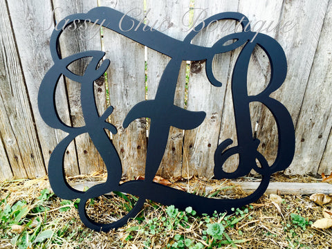 Wooden Monograms-Custom Painted Triple Wooden Monogram - Vine Font-Sassy Chic Boutique - 4