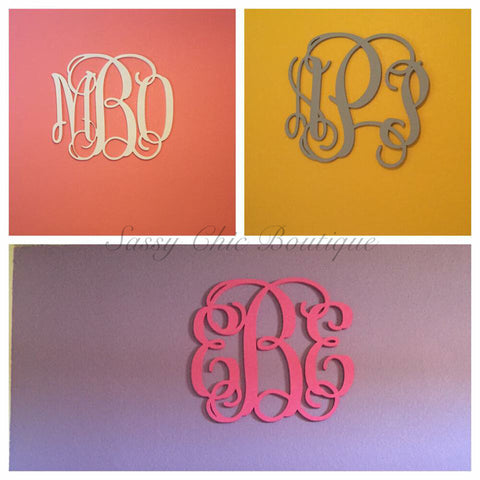 Wooden Monograms-Custom Painted Triple Wooden Monogram - Vine Font-Sassy Chic Boutique - 3