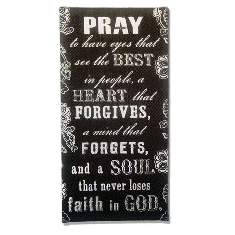 Home Decor-Pray Forgive and Forget Black and White Burlap Plaque-Sassy Chic Boutique