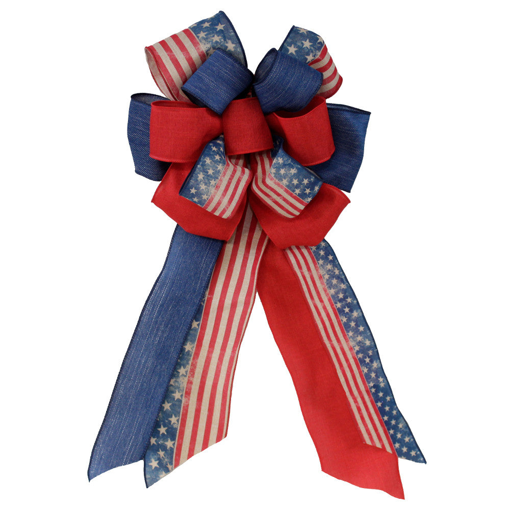 Wreath Supplies-Patriotic Fourth of July Stars and Stripes Bow-Sassy Chic Boutique