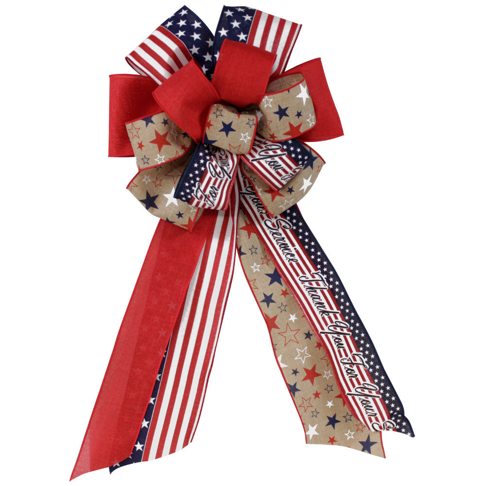 "Wreath Supplies-26"" ""Thank You For Your Service"" Patriotic Fourth of July Stars and Stripes Bow-Sassy Chic Boutique"