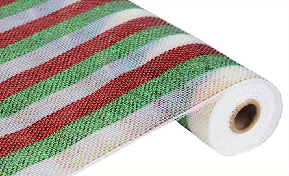 "Wreath Supplies-Deluxe Deco Mesh Red, White, and Green Stripes - (RE1038K5) - 21"" x 10 yds-Sassy Chic Boutique"