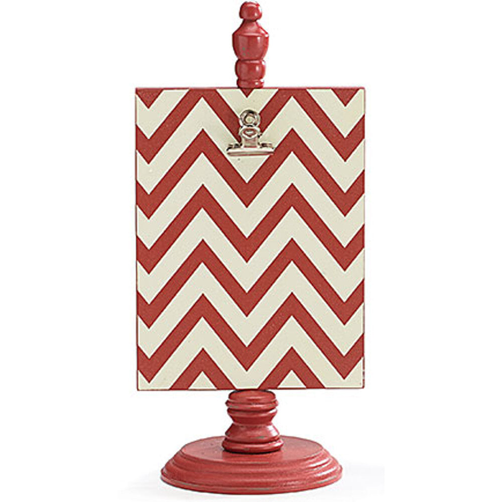 "Home Decor-12"" Red Chevron Wood Clip Board w/Metal Clip-Sassy Chic Boutique - 1"