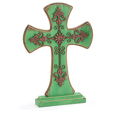 "13"" Rod Iron Cross Stacked on Wooden Cross - Green"