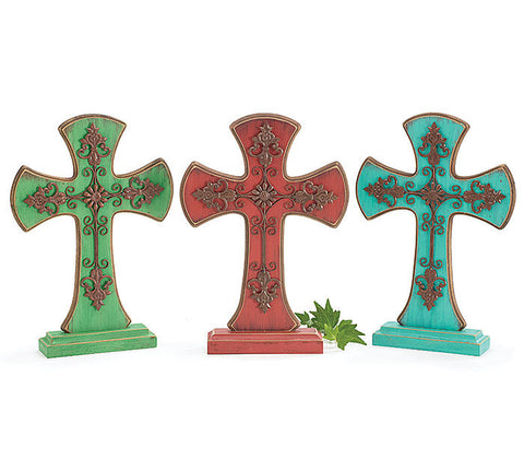 "Home Decor-13"" Rod Iron Cross Stacked on Wooden Cross - Green-Sassy Chic Boutique - 2"
