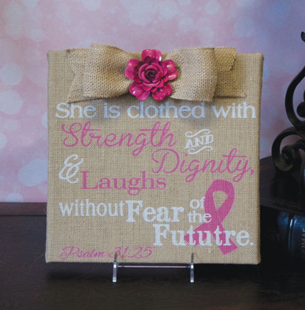 Home Decor-She is Clothed With Strength, Dignity, & Laughs Psalm 31:25 Pink Print Burlap Plaque-Sassy Chic Boutique