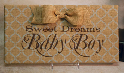 Sweet Dreams Baby Boy Lt. Blue Damask Burlap Plaque with Burlap Bow