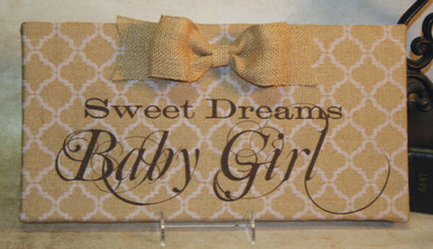 Sweet Dreams Baby Girl Lt. Pink Damask Burlap Plaque with Burlap Bow