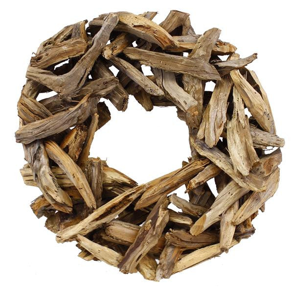 "Wreaths and Door Decor-Bleached Natural 19.75""Dia Cedar Slab Wreath-Sassy Chic Boutique"