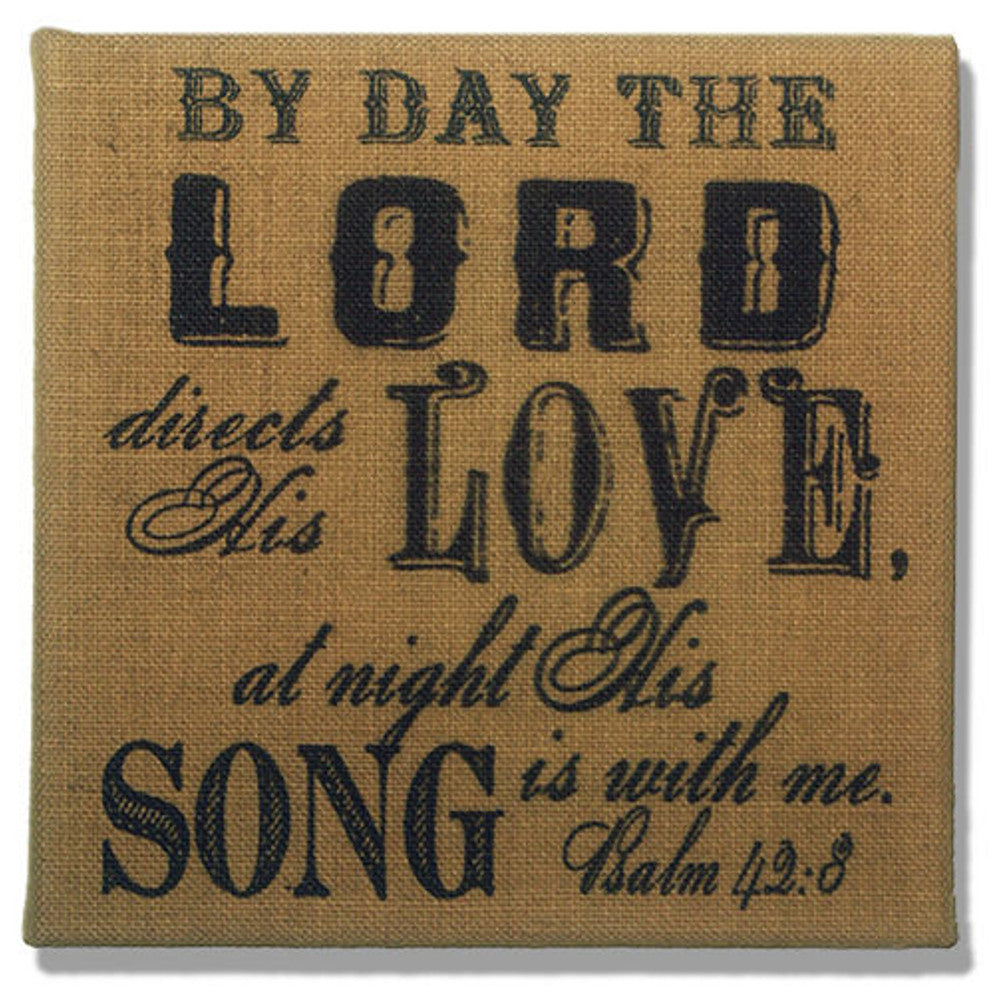 Home Decor-The Lord Directs His Love Psalm 42:8 Gold Burlap Plaque-Sassy Chic Boutique