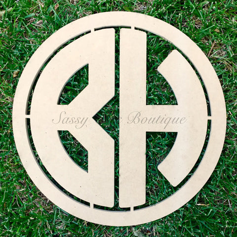 Custom Distressed Double Wooden Monogram - Block Font