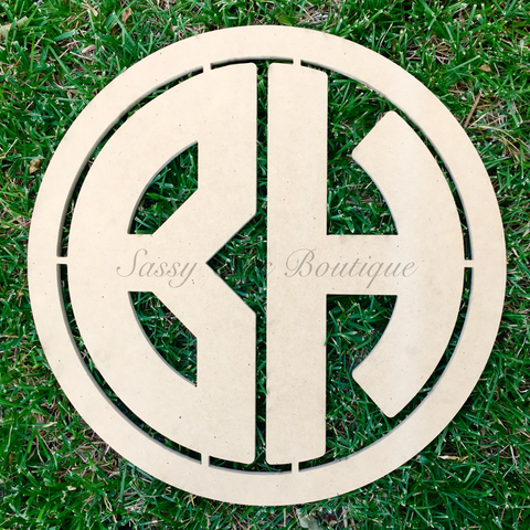 Wooden Monograms-Custom Painted Double Wooden Monogram - Block Font-Sassy Chic Boutique - 3