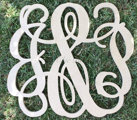 "Custom Unfinished Double Wooden Monogram with ""&"" - Vine Font"