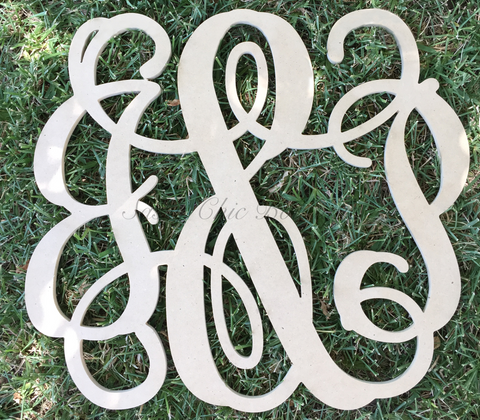"Custom Painted Double Wooden Monogram with ""&"" - Vine Font"