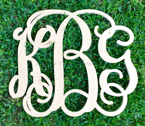 Custom Unfinished Triple Wooden Monogram - Vine Font