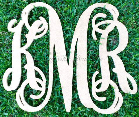 DIY-Custom Unfinished Triple Wooden Monogram - Vine Font-Sassy Chic Boutique - 2