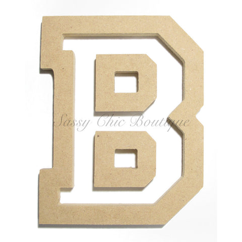 "Unfinished Wooden Letter - Uppercase ""B"" - All Star Font"