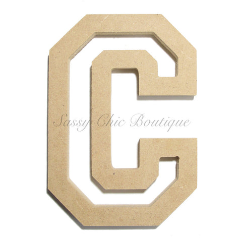 "Unfinished Wooden Letter - Uppercase ""C"" - All Star Font"
