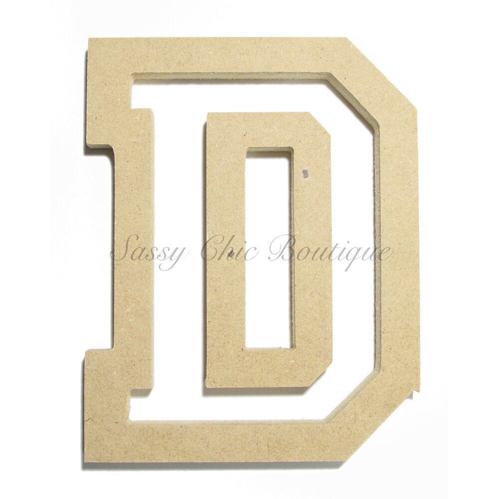 "DIY-Unfinished Wooden Letter - Uppercase ""D"" - All Star Font-Sassy Chic Boutique"